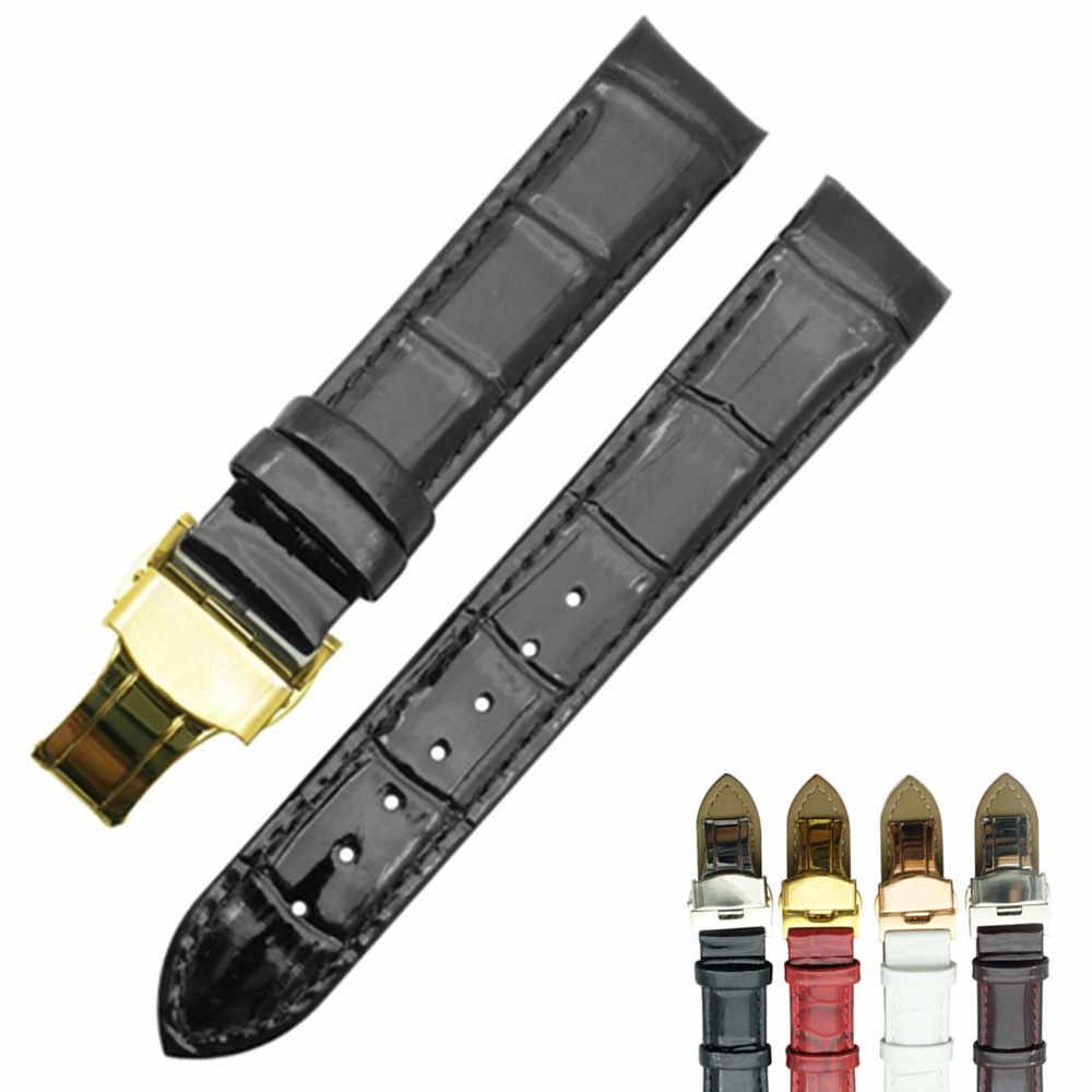 עור אמיתי שעון להקות רצועת מתקפל אבזם 18mm עבור Tissot T035210A T035207 נשים שעון רצועת השעון DIY להחליף