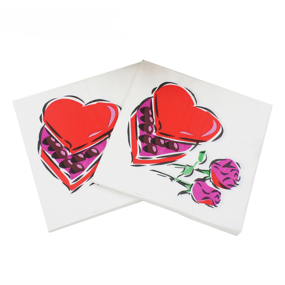 [Currently Available] Color Printing Wedding Napkin Heart Printed Paper Towel Kleenex RUWD-08