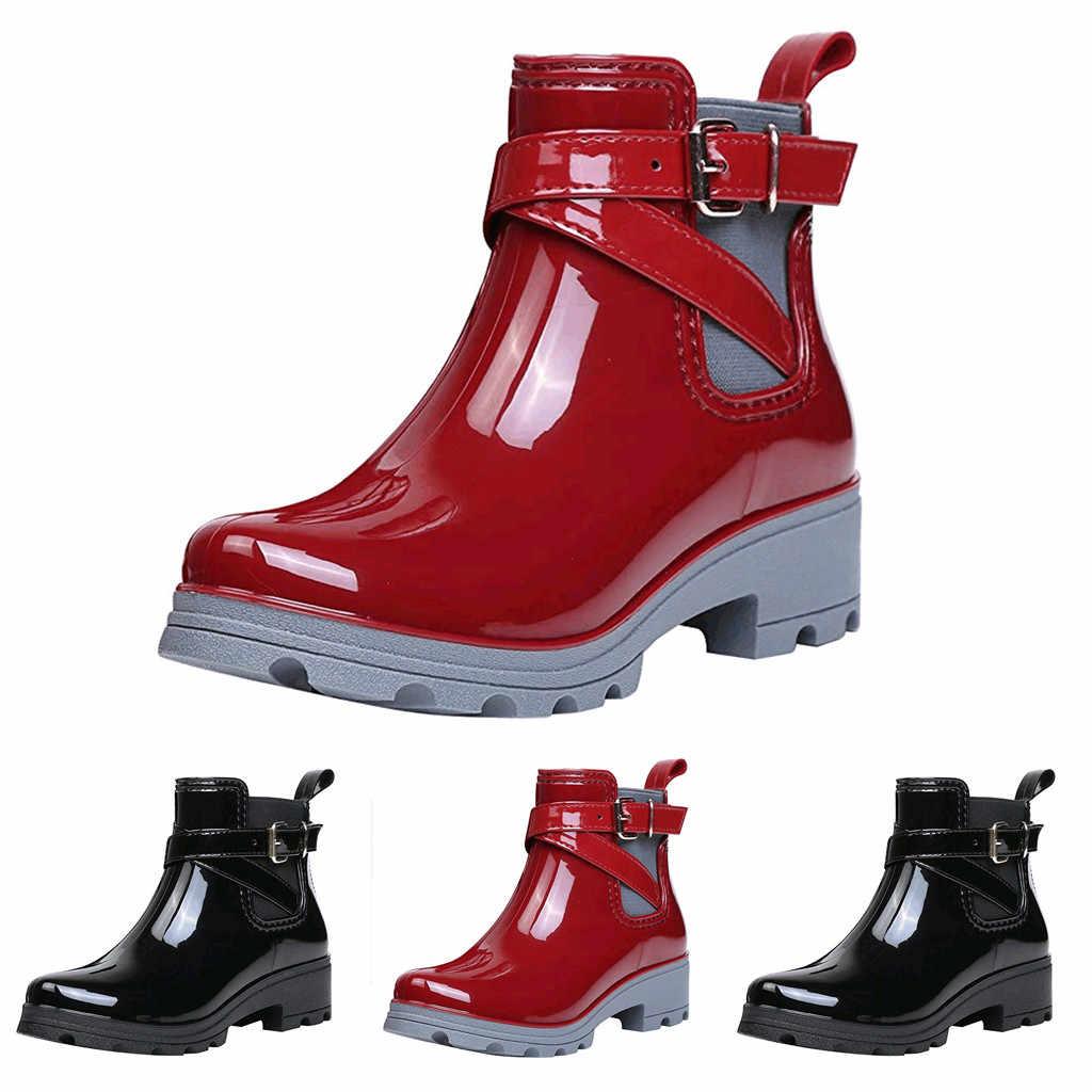 Botas de mujer corta Botas de lluvia zapatos antideslizantes de cuero banda elástica zapatos de agua zapatos de tobillo botas обувь женская зимняя