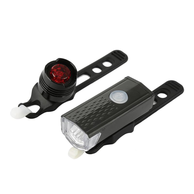 LED Rechargeable USB Bicycle Bike Cycling Front Head Lamp Torch Rear Tail Light