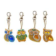 4pcs DIY Full Drill Diamond Painting Owl Shaped Key Rings Exquisite Women Bag Backpack Pendants Crafts Accessories(China)