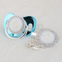 MIYOCAR chupete ostentoso de plata con nombre, letra inicial S, colección elegante, clip para chupete, sin BPA, dummy bling SGS pass LS 1