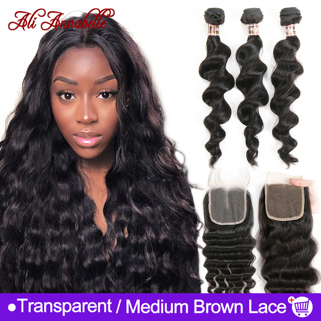 $ US $74.65 ALI ANNABELL Loose Wave Bundles With Closure Human Hair Bundles With Closure Loose Wave Human Hair With Transparent Lace Closure