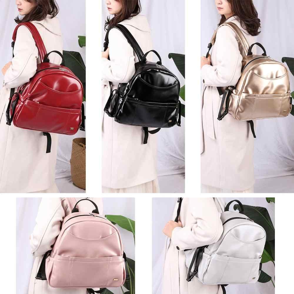 Nueva moda PU negro pañal mochila para Bebé de gran capacidad impermeable pañal con bolsillos bolsa para cochecito de viaje de la madre