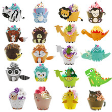 Leeuw Aap Cake Topper Dier Cupcake Wrappers Bos Vriend Uil Vos Beer Alpaca Cupcake Jungle Party Kids Birthday Party Decor(China)