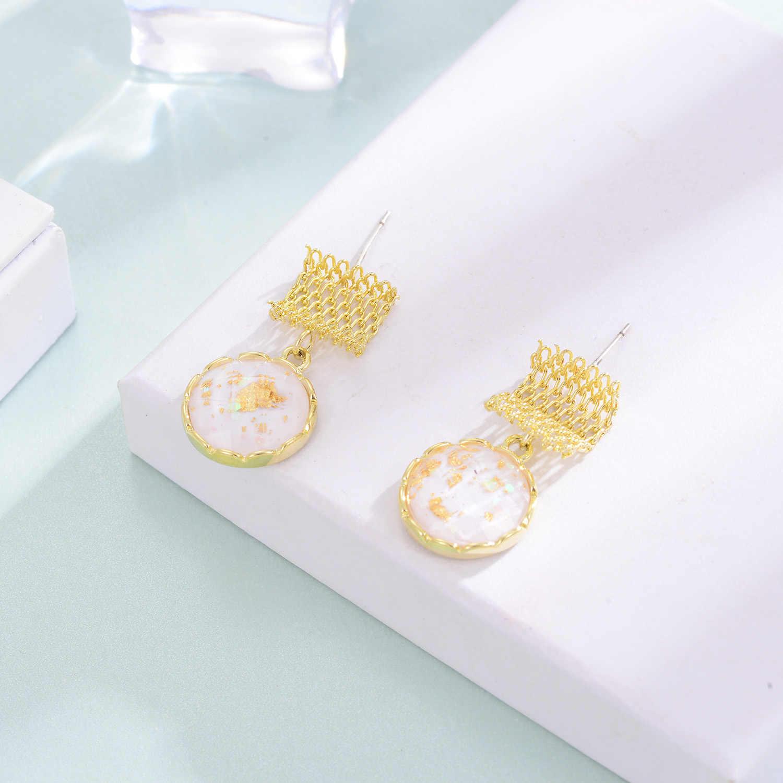 Hars Ronde Geometrische Drop Earring Voor Vrouwen Goud Kleur Koper Hanger Oorbel Mode-Sieraden Party Boucle D' Oreille Femme 2020