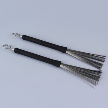 1 Pair Rubber Handle Metal Wire Drum Throw Retractable Brushes Sticks Drop Shipping 1 pair 40cm wooden hot rods rute jazz drum sticks portable lightweight