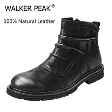 Winter Shoes Snow-Boots Chelsea Ankle Designer Waterproof Big-Size Fashion 100%Genuine-Leather