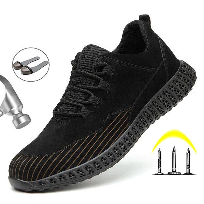 Воздухопроницаемая Рабочая защитная обувь со стальным носком, мужские Нескользящие неразрушаемые кроссовки, защитная обувь, рабочая обувь...