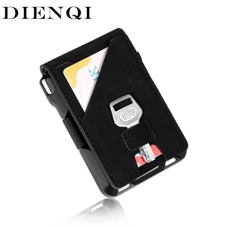 DIENQI Aluminium Metal Rfid Credit Card Holder Wallet Men Fashion Black Bank Credit Cardholder Anti-thief Card Case Money Bag