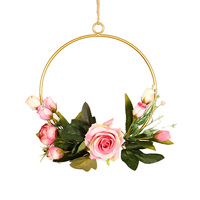 Indoor Hanging Artificial Flower Geometry Wrought Iron Pendant Wall Decor Round Shape Pink Rose/Lavender/White Chrysanthemum