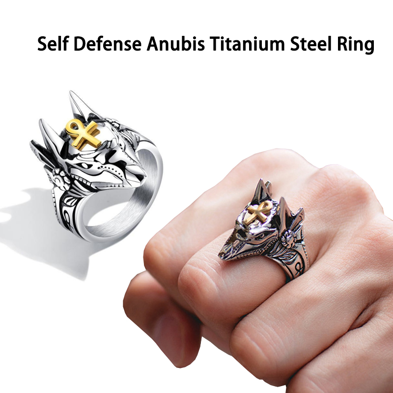 1pcs Men Women Person Self Defense Ring Punk Anubis Egyptian Cross Beast Anti-wolf Finger Ring Titanium Steel Vintage Wolf Rings