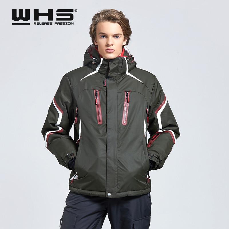WHS  Ski Jacket Men Windproof Warm Coat  Male Waterproof  Snowboard Jacket  Outdoor Sport  Clothing Winter Bright Color