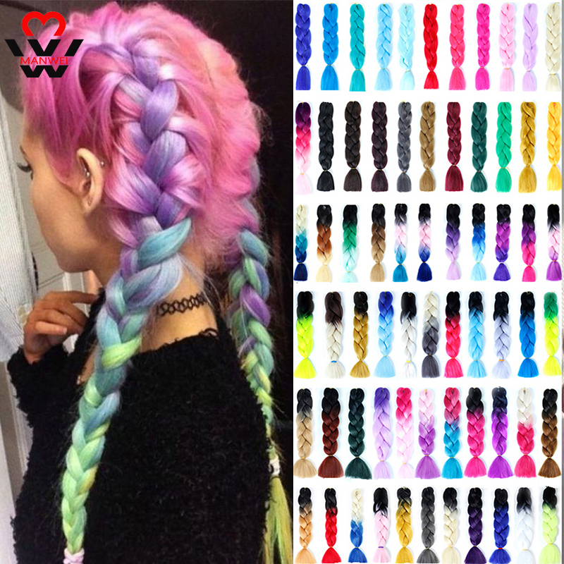 MANWEI Braiding Hair SyntheticBraids Kanekalon Jumbo Ombre Hair Extension Braids Black Pink Red Braiding Hair Crochet Braids