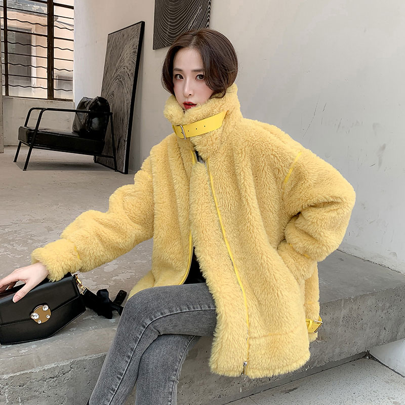 New Granular Woolen Coat Women Autumn and Winter 2019 Patchwork Compound Double faced Fur Loose Winter Wool Jacket Outerwear in Faux Fur from Women 39 s Clothing