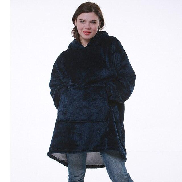 Blanket with Sleeves Women Oversized Hoodie Fleece Warm Hoodies Sweatshirts Giant TV Blanket Women Hoody Robe Casaco Feminino 1