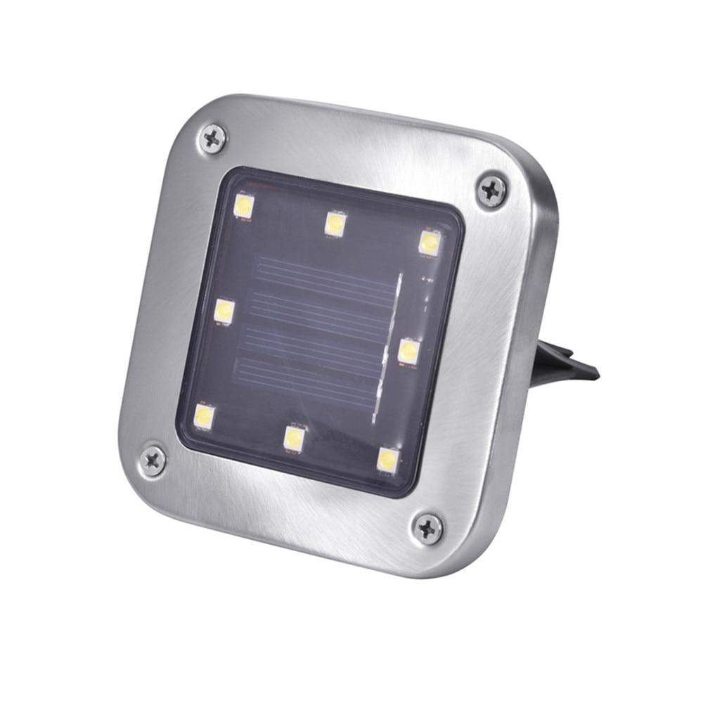 4pcs/Lot 8 LED Waterproof Stainless Steel Solar In-Ground Light Square Outdoor Pathway Light Spot Lamp Yard Garden Lawn Landsca