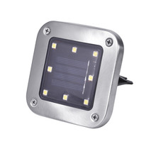 4pcs/Lot 8 LED Waterproof Stainless Steel Solar In-Ground Light Square Outdoor Pathway Light Spot Lamp Yard Garden Lawn Landsca