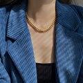 Flashbuy трендовые золотые Цвет толстая цепочка ожерелье для женщин из нержавеющей стали массивная цепочка колье-чокер минималистский, ювелир...