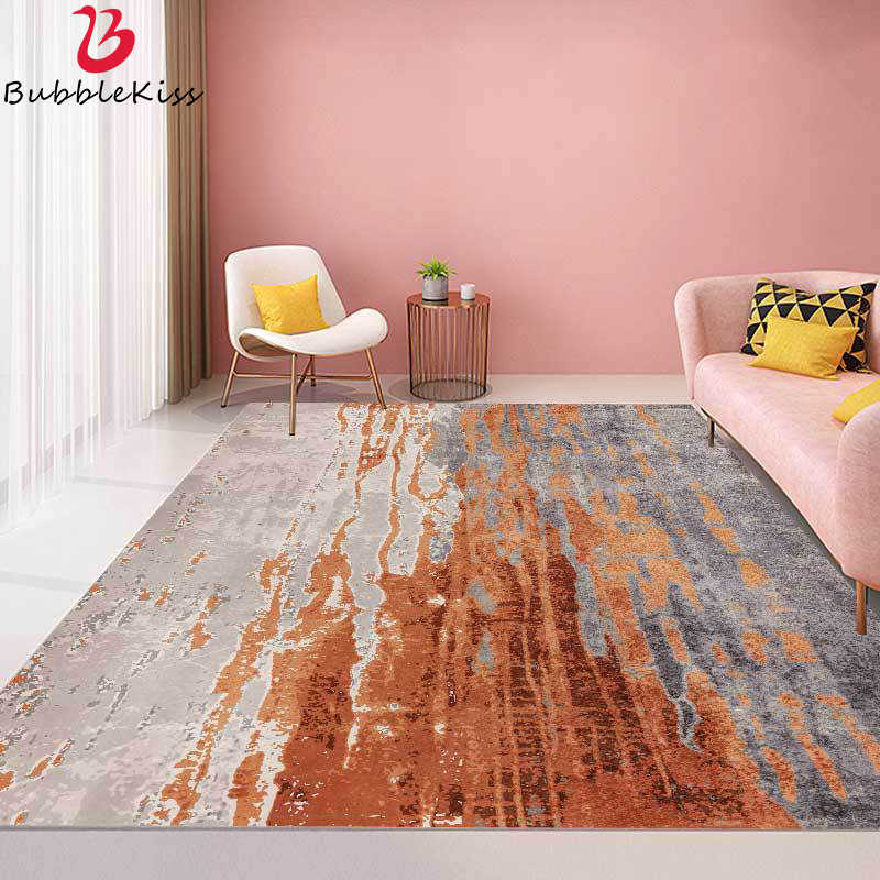 Bubble Kiss Fashion Rugs And Carpets For Home Living Room Modern Distressed Gray Cement Orange Stripes Area Rug Bedroom Decor Carpet Aliexpress