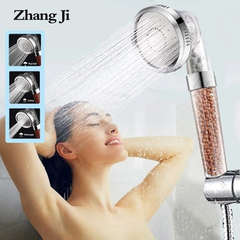 ZhangJi 3 Modes Bath Shower Adjustable Jetting Shower Head High Pressure Saving Water Bathroom Anion Filter Shower SPA Nozzle