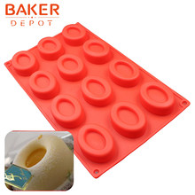 Molde de silicone para bolos doces chocolate oval donuts forma cookies bolo decoração molde pastelaria bakeware