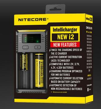 Marka Nitecore nowa ładowarka i2 Intellicharger i2 Nitecore do 16340 CR123A 10440 AA 14500 18650 26650 22650 17670 tanie i dobre opinie leiqidudu Elektryczne wireless New i2 I Standard Battery LED display