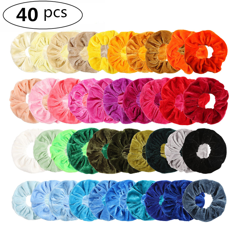 20/40 Pcs/Set Vintage Hair Scrunchies Stretchy Velvet Scrunchie Pack Women Elastic Hair Bands Girl   Headwear   Rubber Hair Ties