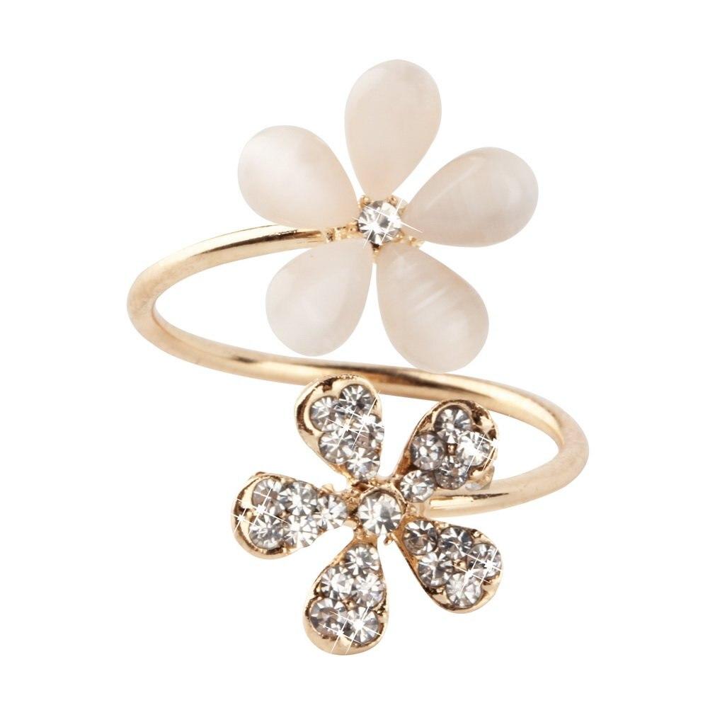 1 pc Crystal Double Daisy Flower Petals Ring Cute Brand Design Rhinestone Adjustable Rhinestone Ring For Women Fine Jewelry