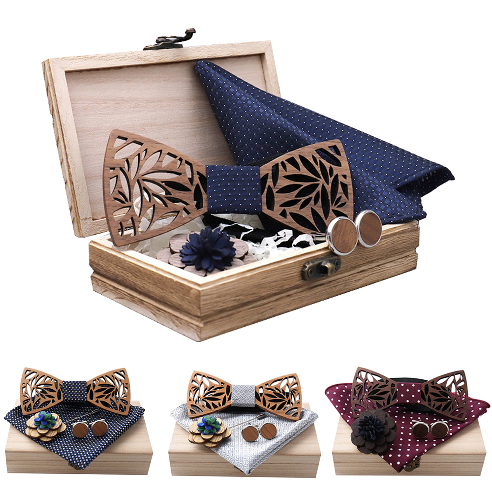 Wooden Bow Tie Hanky Cufflinks Brooch Set Men's Plaid Dots Bowtie Wood Hollow Carved Cut Out Design With Box Fashion Novelty Tie