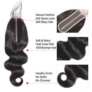 Image 3 - Fermeture brésilienne de cheveux de vague de corps de cheveux de Bling avec des cheveux de bébé Remy 2x6 fermeture suisse de dentelle partie moyenne couleur naturelle 8 22 Inch