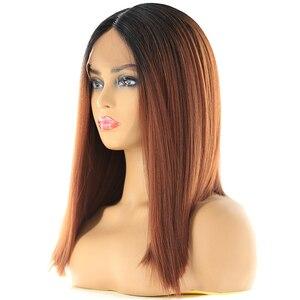 Image 4 - Perruque Bob Lace Front Wig synthétique Orange, cheveux Yaki lisses, Ombre, coupe courte avec raie au milieu, pour femmes noires, X TRESS