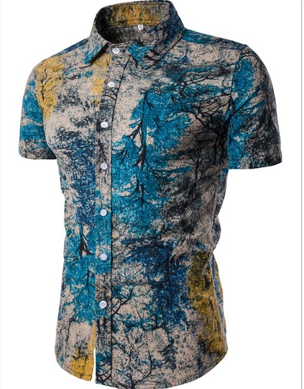 Summer Men'S Wear New Style Short Sleeved Shirt Printed Shirt MEN'S Shirt Tc01-tc10
