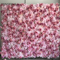 TONGFENG Rosa 8 unids/lote flores de seda Artificial de peonía Rosa 3D flor Panel de pared boda telón de fondo flor corredor fiesta