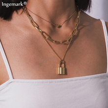 Ingemark Multi Layer Lover Lock Pendant Choker Necklace Steampunk Padlock Heart Chain Necklace Collier Best Couple Jewelry Gift ingemark vintage virgin mary pendant choker necklace multi layer crystal clavicle long chain necklace christian couple jewelry