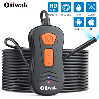 Oiiwak Wireless Endoscope Dual Lens Inspection Camera Waterproof Semi-Rigid Snake Camera HD WiFi Borescope for iPhone Android antscope wifi endoscope camera android 8mm 2 0mp 720p borescope mini camera semi rigid hard tube and softwire car inspection