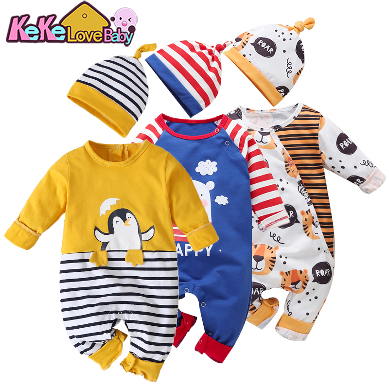 Newborn <font><b>Baby</b></font> <font><b>Clothes</b></font> Rompers Infant Cotton Spring Penguin Jumpsuits Hat For <font><b>Baby</b></font> Girl Long Sleeve Cartoon <font><b>New</b></font> <font><b>born</b></font> <font><b>Boy</b></font> Clothing image