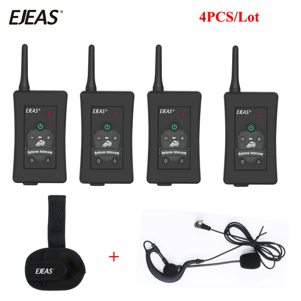 4Pcs Newest Football Referee Intercom Headset FBIM 1200M Full Duplex Bluetooth Interphone Wireless Ear Walkie Talkie