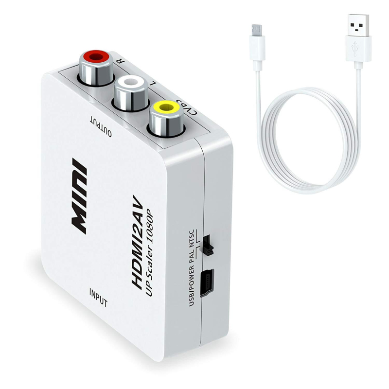 HDMI Zu AV RCA/CVSB L/<font><b>R</b></font> Video 1080P Unterstützung PAL NTSC HDMI2AV Notebook Mini HDMI Adapter zu AV Scaler <font><b>HD</b></font> Video Converter Box image
