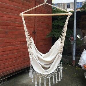 Image 5 - Outdoor Portable Bohemia Style Hammock Chair Beige Cotton Rope Net Swing Rope Balcony Indoor Garden Hanging Chair
