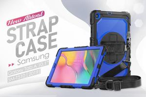Image 2 - 360 Rotating Case for Samsung Galaxy Tab A 10.1 2019 T510 T515 SM T510 SM 515 Tablet Cover with Hand Shoulder Strap +pen + Film