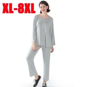 Image 1 - Женская пижама, комплект из двух предметов, Женский мягкий размер плюс, эластичные повседневные свободные костюмы с длинными рукавами, пижамы для женщин, домашние костюмы shein