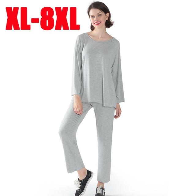 Женская пижама, комплект из двух предметов, Женский мягкий размер плюс, эластичные повседневные свободные костюмы с длинными рукавами, пижамы для женщин, домашние костюмы shein