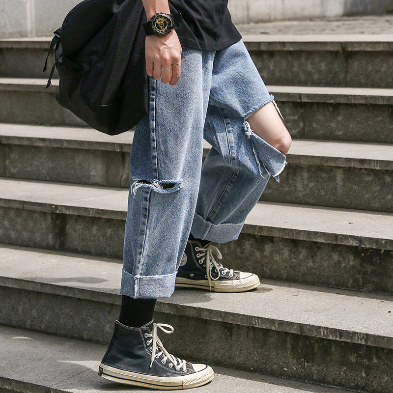 Summer New Style With Holes Jeans Men's Fashion Broken Big Hole Knee Capri Irregular BOY'S Flash Harem Pants