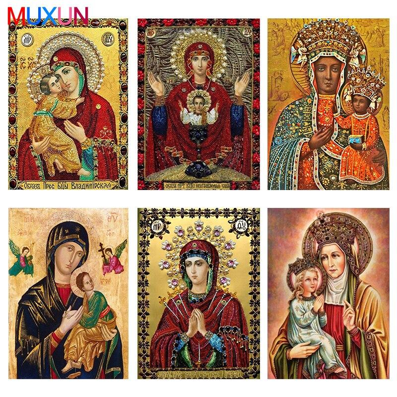 Muxun Diy Алмазная вышивка иконы фото бисерные картинки алмазная живопись религия полный квадратный/круглый украшения для дома X0515|Алмазная роспись, вышивка крестом|   | АлиЭкспресс