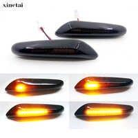 2 pièces Lentille De Fumée Dynamique Fluide LED Clignotant Feu De Position Latéral Clignotant Lampe pour BMW E60 E61 E90 E91 E81 E82 E88 E46 X3 X1