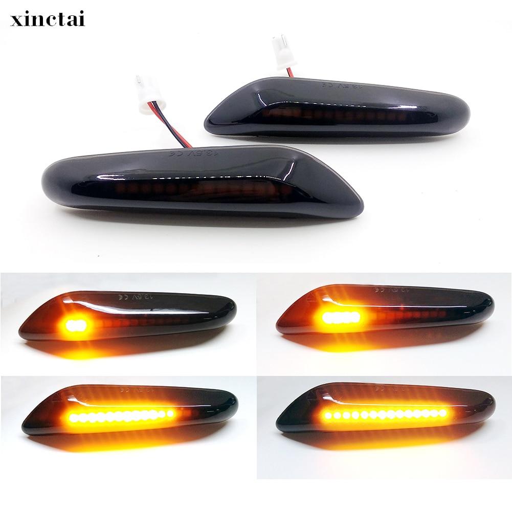2PCS Smoke Lens Dynamic Flowing LED Turn Signal Side Marker Light Blinker Lamp For BMW E60 E61 E90 E91 E81 E82 E88 E46 X3 X1