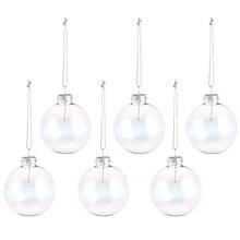 6 uds de Navidad bolas de vidrio adornos transparente navideño colgante de árbol de Navidad