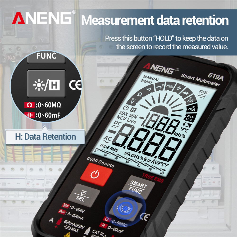 Tools : ANENG 619A Digital Multimeter AC DC Currents Voltage Testers True RMS 6000 Counts Professional Analog Bar Multimetro NCV Meter