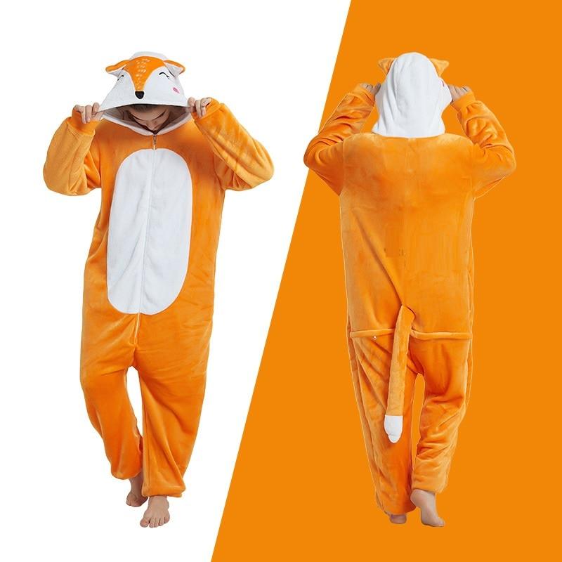 Kigurumi fox long sleeve hooded onesie kigurumi for adults Women flannel warm onsie Whole kegurumi onepiece animal pajamas